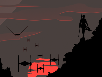 Rey on sunset design illustration poster starwars