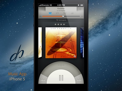 Music App for iPhone 5 rebound ui user interface knob music iphone ios ux player ipod