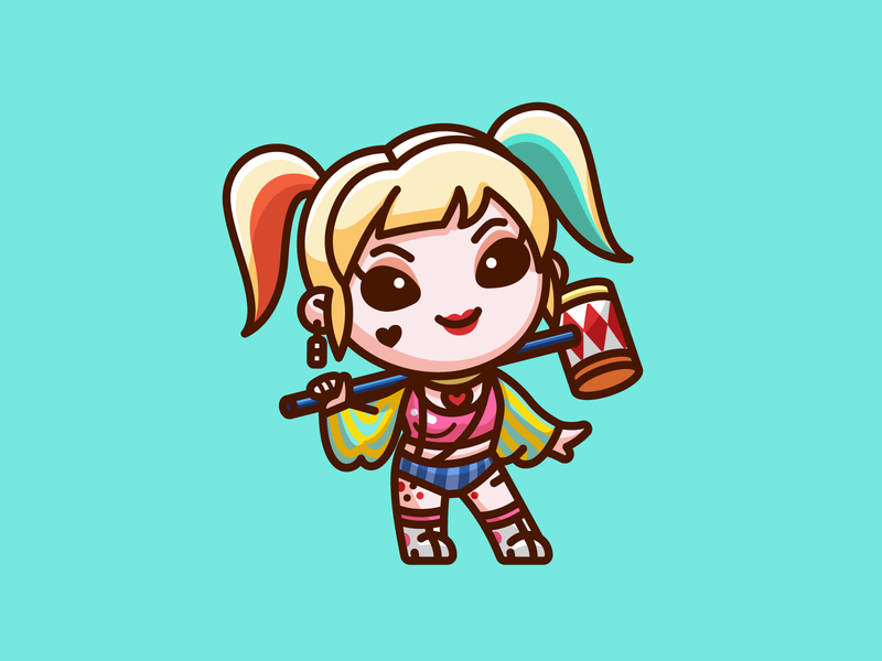 Harley Quinn - Freebie fanart hammer villain birds of prey girlfriend joker margot robbie png freebies freebie free illustration chibi cute comic character dc suicide squad harley quinn adorable