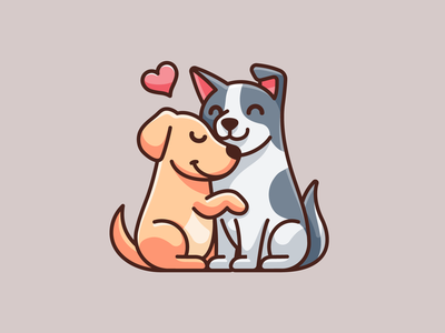 Valentine Dogs simple valentinesday couple happy lovely adorable cute animal pet dog hugging heart love valentine cartoon mascot character illustrative illustration logo