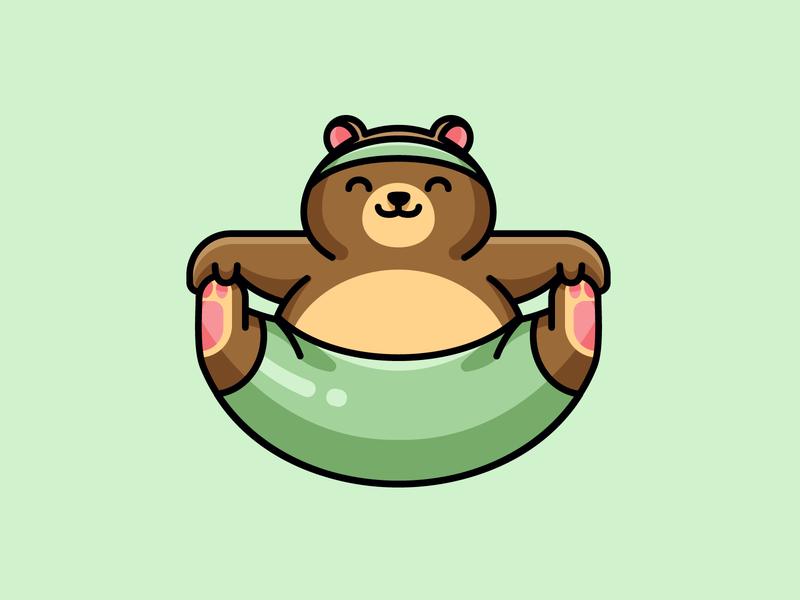 Yoga Bear lovely adorable grizzly children joke funny cute animal urdhva upavistha asana cone meditation sport brown bear yoga character mascot illustration logo