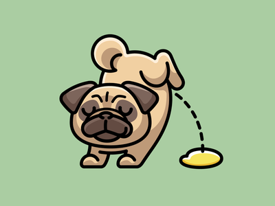 Pug Peeing character mischievous happy smiling adorable animal pet dog pug piddle urinate pissing peeing cute joke funny mascot cartoon illustrative illustration