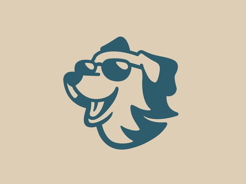 Golden Retriever - Opt 2 simple wind positive happy enjoy fur window funny fun dog mark symbol icon golden retriever negative space identity logo cool branding aviator