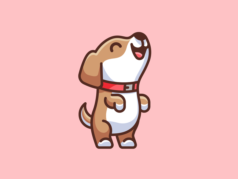 Dog Standing on Two Feet simple illustration cutesy lovely greeting character illustrative adorable cute doggy dog pet puppy standing happy excited mascot cartoon identity logo