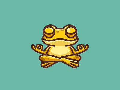 Meditating Frog illustrative guru silly cartoon playful humor balance chill zen game meditating yoga meditation toad gold golden frog character mascot logo