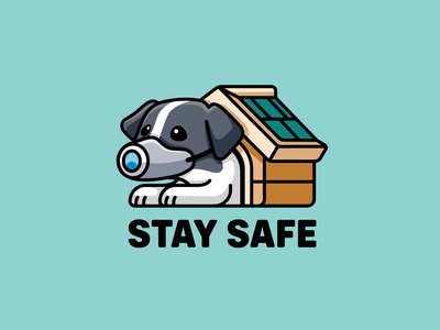 Stay Safe adorable puppy outbreak cute cartoon drawing illustrative illustration virus waiting stay pet house home sad dog mask covid-19 corona coronavirus