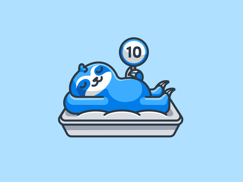 Sloth Relaxing on a Mattress outline sleep bed character relaxing lazy sleeping animal illustrative cute cartoon sign score jury judge review mattress mascot logo sloth