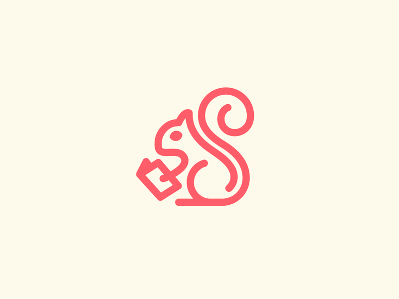 Red Squirrel Reading a Book minimal icon branding clean illustrative character line bookstore library animal elegant simple outline monoline identity logo reading red squirrel