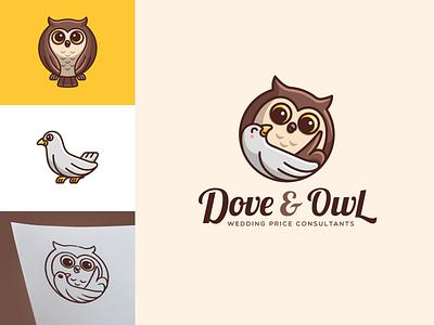 Dove & Owl marriage wise guidance talking sketch geometric circle adorable cute wedding consultation character mascot cartoon illustrative branding logo animal owl dove