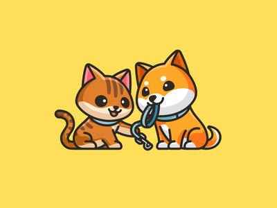 Dog, Cat, and Leash - 02 fun happy torbie shiba inu illustrative grooming training leash character cartoon playful playing adorable dog walking pet sitting cat branding cute identity logo