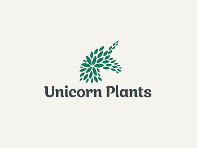 Unicorn Plants sophisticated shop luxury elegant eco green horse animal creative unique abstract organic leaf plants symbol unicorn branding brand identity logo