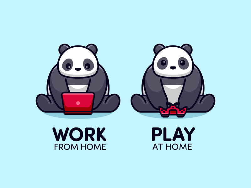 Stay Home controller playstation4 game working laptop epidemic house play workfromhome virus corona covid-19 pandemic coronavirus stayhome home stay panda cute illustration