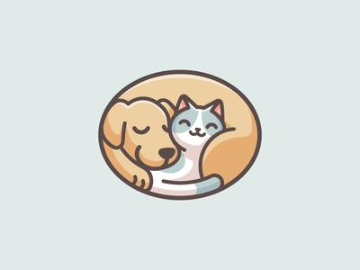 Sleeping Dog & Cat bed sleeping lovely branding adorable cute relaxing doggy kitten geometric geometry ellipse fun playful cartoon pet cat dog illustrative logo