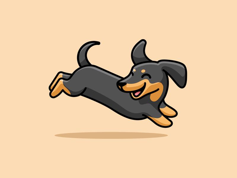 Happy Dachshund fun flat outline adorable cute puppy smile weekend cheerful playful jumping happy sausage dog weiner dog dachshund illustrative simple cartoon illustration