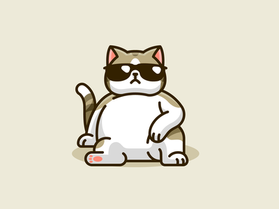 Swag Cat mascot character relax boss sunglasses fat cute joke humor chill funny cartoon illustration illustrative animal kitten cat swagger swag cool