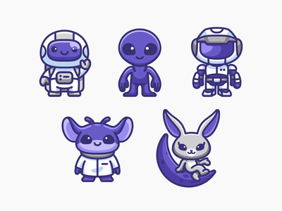 Space Characters friendly gaming app outer game avatar simple adorable chibi illustration mascot character cute bunny moon rabbit robot monster alien astronaut space