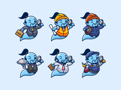 Genie Mascot work game adorable cute call center plumber waiter electrician construction worker search employee employment job career attire profession illustration mascot character genie