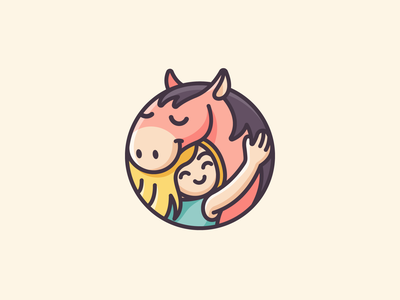 Girl & Pony woman children kid pony identity branding circular lovely adorable cartoon cute care love hug riding horsemanship horse logo illustration illustrative logo logo