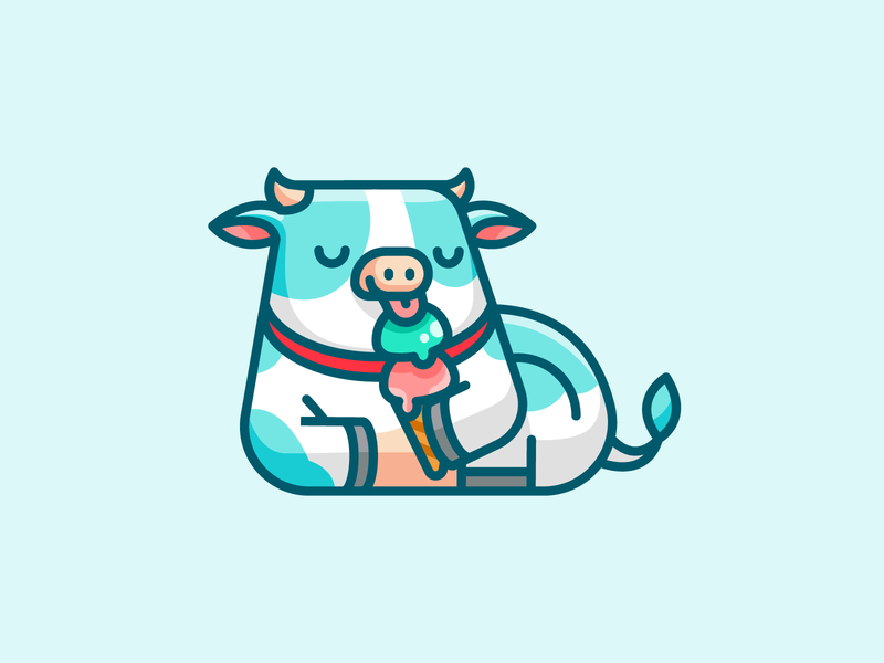 Lazy Cow children kids fun playful lovely funny adorable cute character mascot cartoon lazy enjoy animal cattle relaxing ice cream logo illustrative logo cow