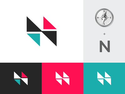 N + Compass triangle symbol concept initial arrow direction private equity technology modern abstract digital monogram n north needle compass branding brand identity logo
