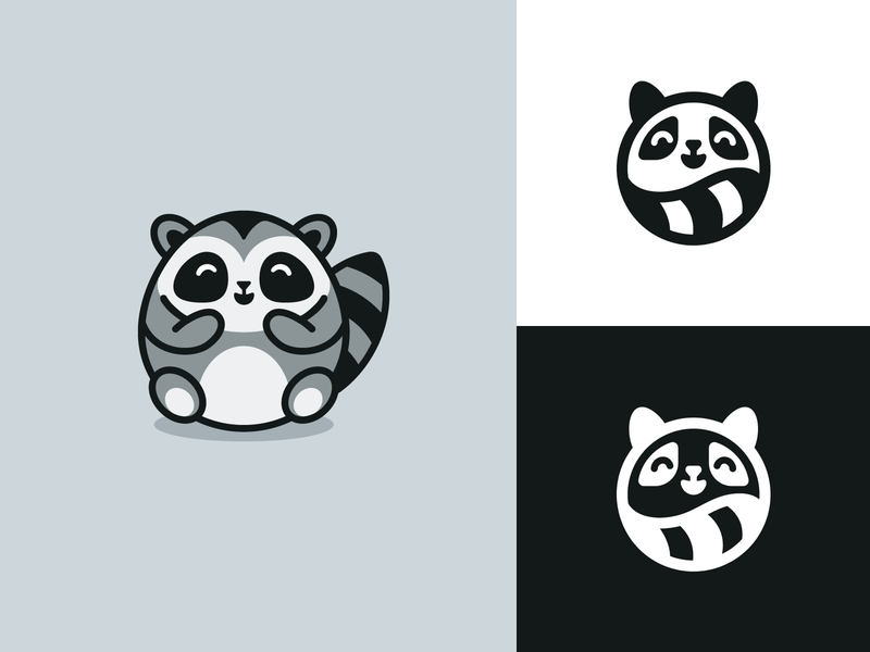 Fat Raccoon Rebranding redesign animal favicon geometry circle circular cute happy mark symbol icon raccoon rebranding branding minimal simple one color monochrome black and white identity logo