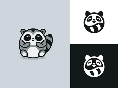 Fat Raccoon Rebranding redesign animal favicon geometry circle circular cute happy mark symbol icon raccoon rebranding branding minimal simple one color monochrome black and white identity logo