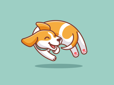 Dog Chasing Its Own Tail adorable cute animal children fun character mascot cartoon dynamic jumping pet doggy tail happy joyful playful puppy dog beagle illustration