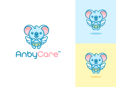 Angel Koala children fun playful care logo illustration character mascot illustrative logo baby diaper angel wings animal koala adorable cute branding brand identity logo