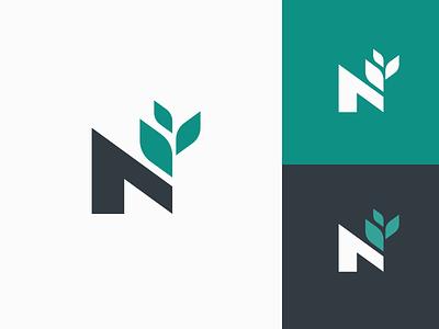 N + Growing Plant digital organic abstract modern technology mark symbol marketing finance growth growing tree plant typography monogram n branding brand identity logo