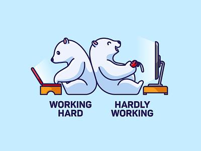 Working Hard / Hardly Working life mascot character animal cute playful joke enjoy tshirt work hard laptop switch cartoon illustration humor diligence lazy working happy polar bear