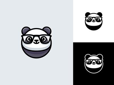 Geek Panda monochrome black and white branding brand identity logo mark symbol mascot friendly computer software technology animal clever smart glasses nerd panda geek