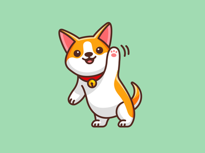 Corgi Saying Hello puppy kids character mascot friendly waving standing t-shirt design animal dog outline cartoon kawaii lovely hello greetings illustration adorable cute corgi