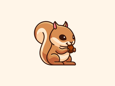 Squirrel children peanut simple baby comic cartoon tail eating pet animal lovely kawaii mascot character illustration sticker adorable cute nut squirrel