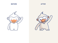 Orangutan Mascot Redesign cartoon mascot redesign wink choice smile happy indonesia warm lovely adorable cute hello friendly ape monkey animal illustration character mascot orangutan