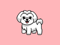Maltese Puppy comic cartoon playful fun fluffy smile happy mascot character animal pet doggy sticker design illustration lovely adorable cute dog puppy maltese