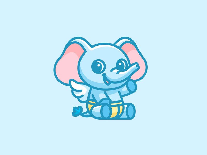 Baby Elephant happy cartoon logo illustration children identity branding logo illustrative character mascot lovely friendly animal adorable cute wings angel diaper elephant baby