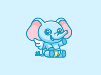 Baby Elephant happy cartoon logo illustration children identity branding logo illustrative character mascot lovely friendly animal adorable cute wings angel diaper elephant baby
