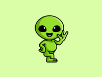 Alien sticker design happy kawaii lovely smile green adorable cute friendly illustration mascot character monster creature space ufo earth alien greetings hello