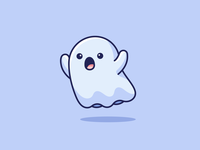 Boo! horror costume halloween flying fun playful funny children kids cartoon boo lovely adorable cute scary sticker design illustration mascot character ghost
