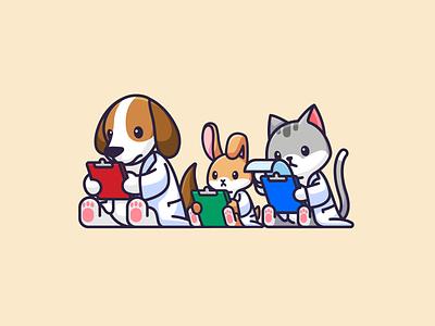 Ready, Pets, Go! lovely healthy fun playful pet animal cartoon dynamic mascot character veterinary illustration adorable cute rabbit bunny cat dog sport run