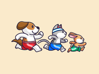 Ready, Pets, Go! lovely healthy fun playful pet animal cartoon dynamic mascot character veterinary illustration adorable cute rabbit bunny cat dog sport run