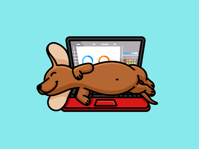 Lazy Dachshund weiner pet dog dachshund rest nap relaxing sleeping work computer laptop working lazy playful fun joke funny adorable cute illustration