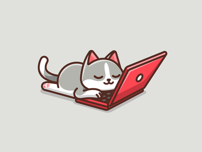 Lazy Cat character designer joke humor sleep working laptop work lazy lovely adorable cute kitten cat illustration playful fun funny mood weekend