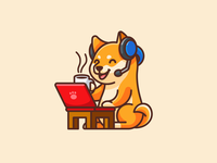 Shiba WFH dog character mascot cartoon playful funny adorable cute working coffee music headphone happy relaxing laptop work from home wfh hero image illustration shiba inu
