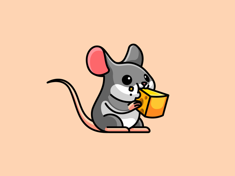 Mouse simple kawaii chewing rat sticker design mice cheese eating lovely adorable character mascot cartoon illustrative illustration drawing cute animal pet mouse
