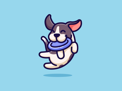 Dog & Frisbee fun drawing outline puppy doggy joyful character mascot playful dynamic comic cartoon illustration cute adorable happy pet jumping frisbee dog