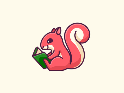 Squirrel Reading drawing library illustrative adorable cute pet cartoon playful smile study learning reading smart happy friendly illustration mascot character animal squirrel