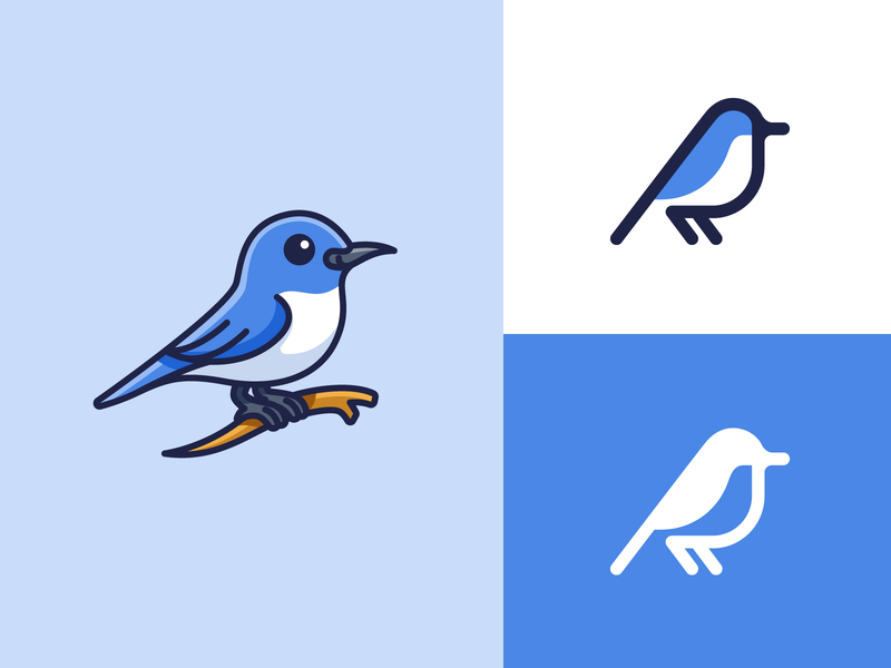 Bluebird - Detailed or Simple? outline geometry monoline cartoon icon style happiness pet animal minimalist simple symbol logo illustrative logo character mascot detail bluebird blue bird
