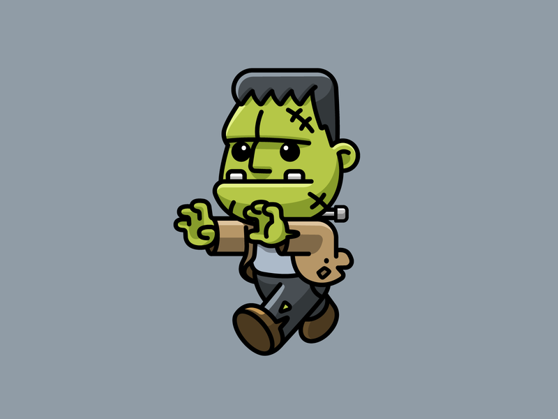 Frankenstein fantasy green walking simple scary sticker design outline horror comic cartoon drawing halloween lovely monster mascot character adorable cute illustration frankenstein