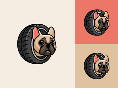 Frenchie and Tire funny animal adorable cute crazy race garage tyre tire car pet dog french bulldog frenchie mascot logo illustrative fun playful identity logo